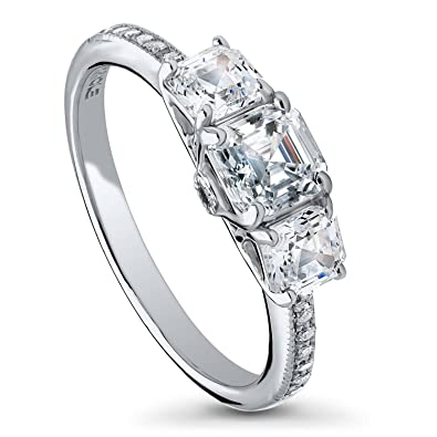 73b49d81c6cf4 BERRICLE Rhodium Plated Sterling Silver Asscher Cut Cubic Zirconia CZ  3-Stone Anniversary Promise Engagement Ring 1.59 CTW