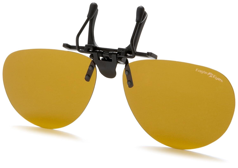a25cc56b2c083 Amazon.com  Eagle Eyes Clip On Sunglasses - Contemporary Aviator Sunglasses  Style - Large  Clothing
