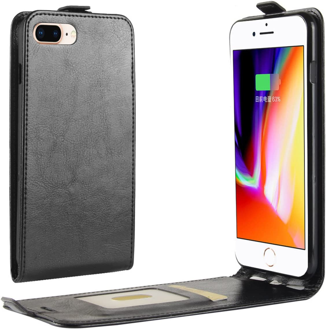 iPhone 8 Plus Case,iPhone 7 Plus Case,Gift_Source [Magnetic Closure] PU Leather Vertical Flip Phone Case Slim Fit Folio Up-Down Open Cover with Card Slots for iPhone 8 Plus/iPhone 7 Plus 5.5