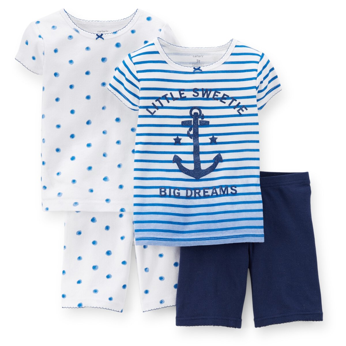 a9a60b0f37e31 Carter's Baby Girls 4 Piece Snug Fit Cotton Pajamas (Blue) (12 ...