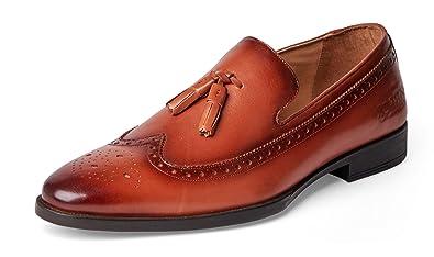 13b2a8cf02a Carlos Santana Sanders Men s Designer Tassel Wingtip Loafers Dress Shoes  for Style and Comfort (8