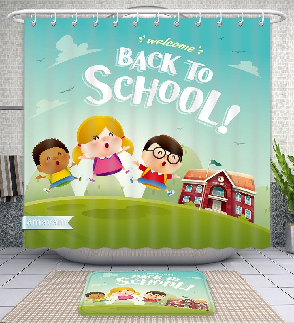 Unique Custom Bathroom 2-Piece Set Welcome Back To School Cute School Kids Shower Curtains And Bath Mats Set, 71''Wx79''H & 31''Wx20''H