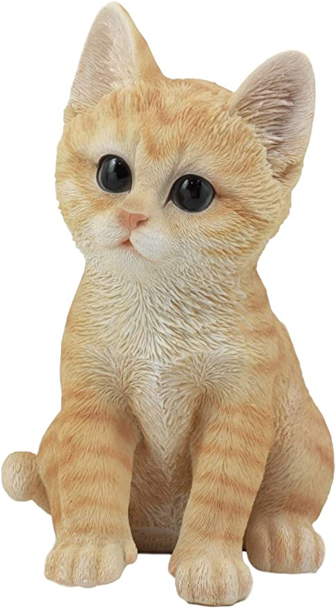 "Lifelike Sitting Orange Tabby Cat Statue 12/""Tall With Glass Eyes Animal Decor"