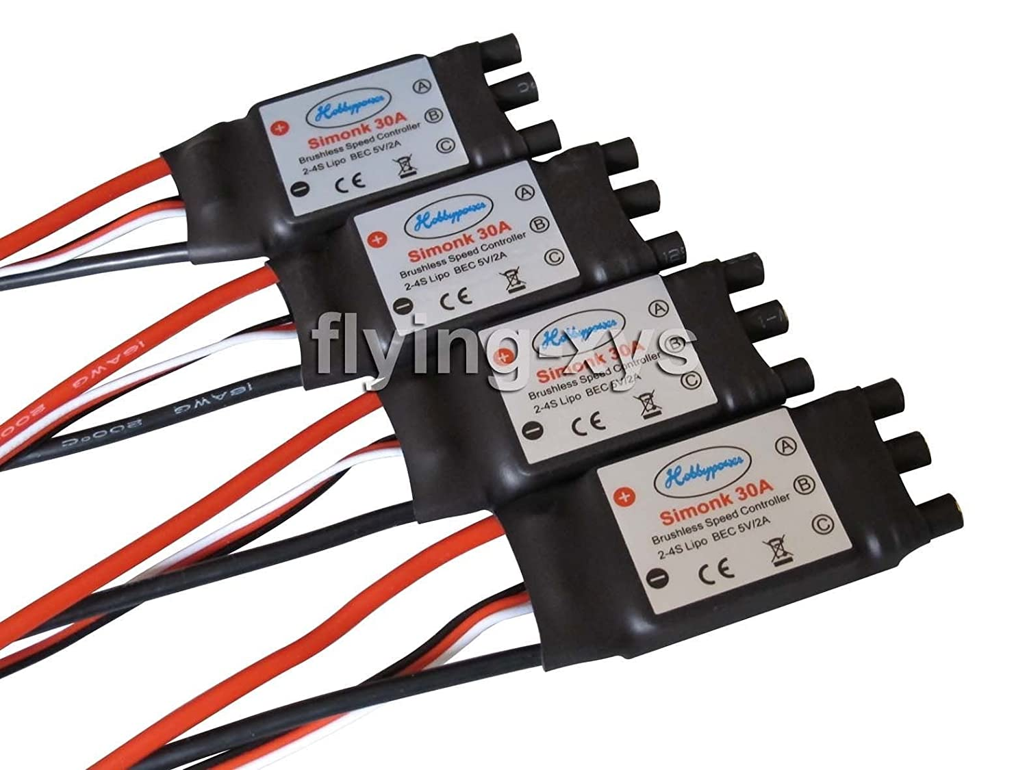 Pack of 4 pcs Hobbypower SimonK 30A ESC Brushless Speed Controller BEC 2A for Quadcopter F450 X525