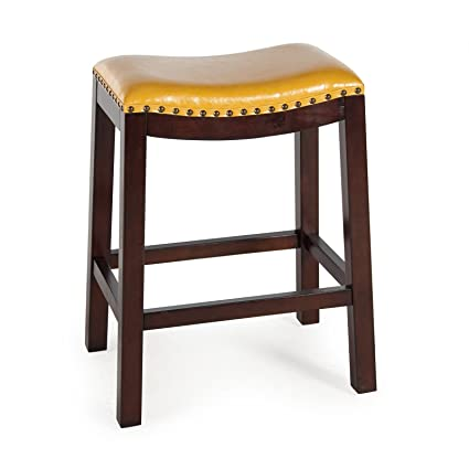 Sensational Amazon Com Yellow 29 Ht Leather Bar Stool Dark Wood Gmtry Best Dining Table And Chair Ideas Images Gmtryco