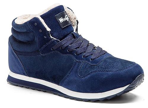 Gaatpot Chaussures Bottes Hiver DE Neige FOURRÉES Bottines Mode Courtes avec  Doublure Chaude Mixte Adulte Bleu 2b675322f31b