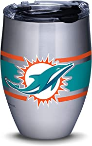 Tervis NFL Miami Dolphins Stripes Insulated Travel Tumbler with Lid, 12oz - Stainless Steel, Silver