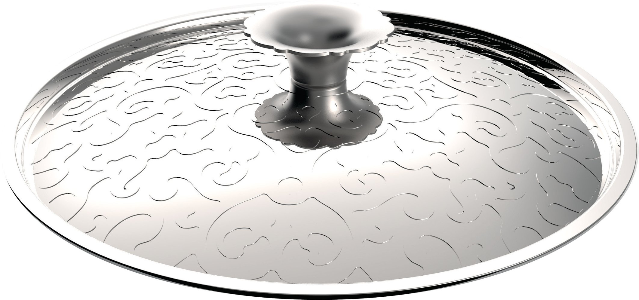 Alessi MW200/28''Dressed'' Lid in 18/10 Stainless Steel Mirror Polished With Relief Decoration, Silver