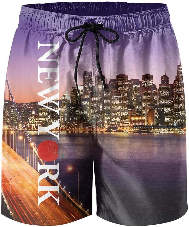 Pretty Mens Guys Beach Shorts New York Love Heart Absorbent Sportwear Beach Board Shorts