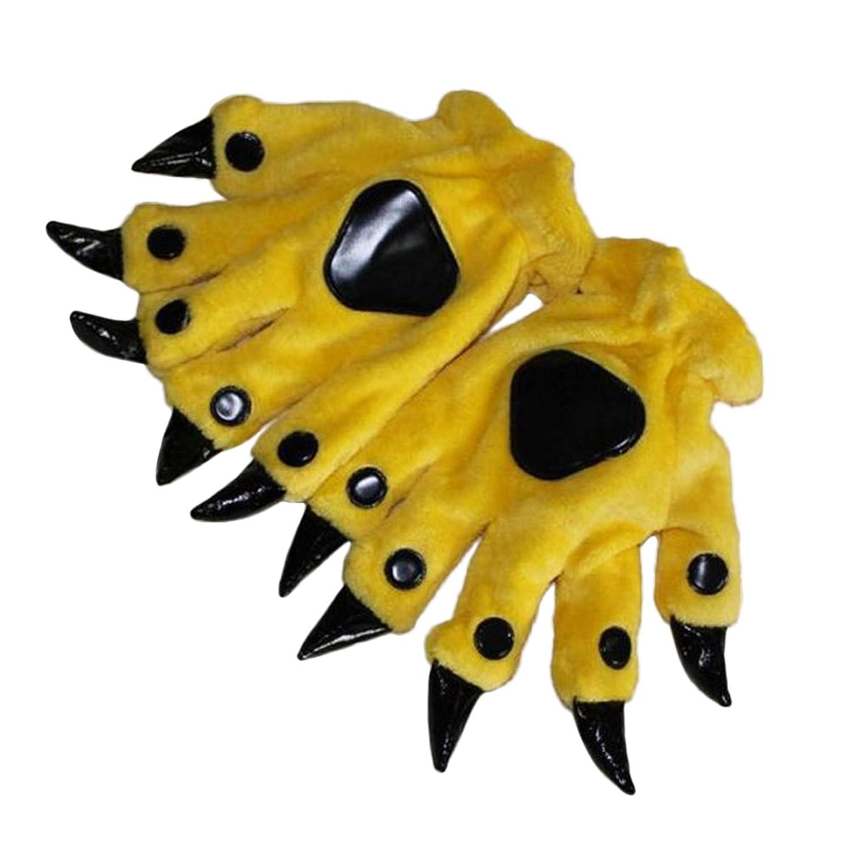 happy event Tier Cartoon Pfote Handschuhe Schwarz Pl/üsch Keep Warm Claws Stich Dinosaurier B/är Cosplay