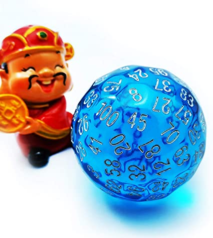 Bescon Translucent Blue Polyhedral Dice 100 Sides Dice Transparent Blue D100