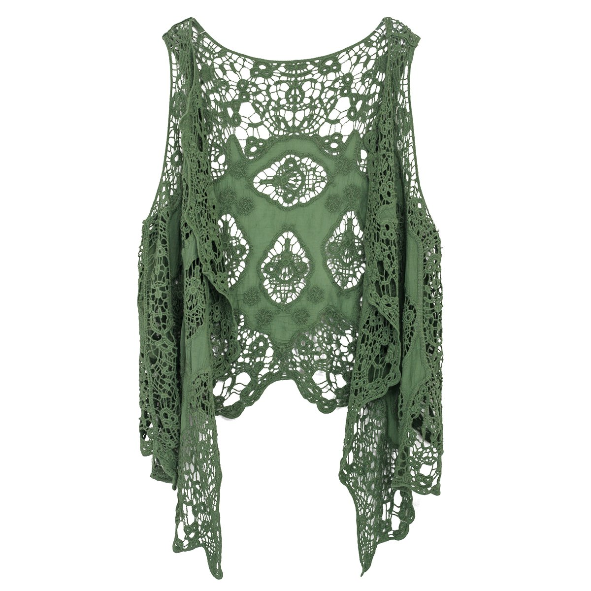 Jastie Open Stitch Cardigan Boho Hippie Butterfly Crochet Vest (ArmyGreen)