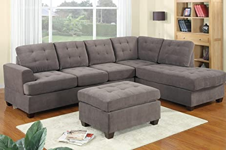 Delightful 3pc Modern Reversible Grey Charcoal Sectional Sofa Couch With Chaise And  Ottoman   Grey Living Room