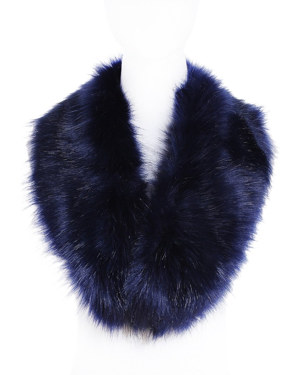 Soul Young Faux Fur Collar Women's Neck Warmer Scarf Wrap,Navy,One Size