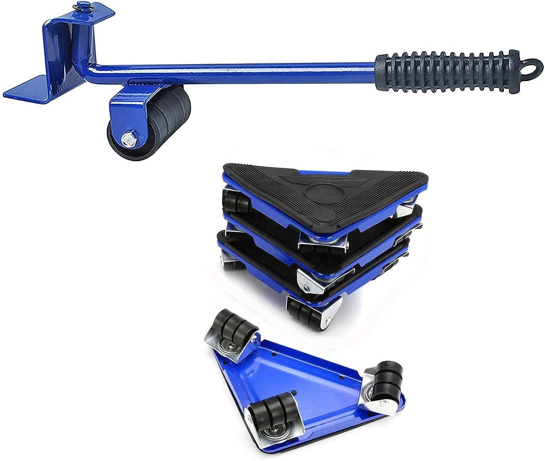 LGYKUMEG Palanca de Muebles y Carretilla sobre Ruedas de 5 Piezas, para Muebles en Movimiento, Capacidad de 300 kg,Azul