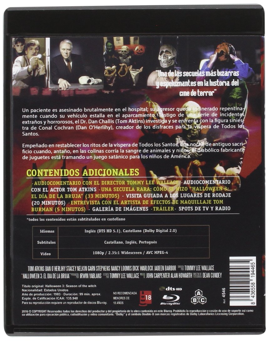 Halloween III. El Día de la Bruja 1983 BD Edicion Coleccionista Halloween III: Season of the Witch Blu-ray: Amazon.es: Tom Atkins, Stacey Nelkin, Dan OHerlihy, Ralph Strait, Michael Currie, Jadeen Barbor, Bradley