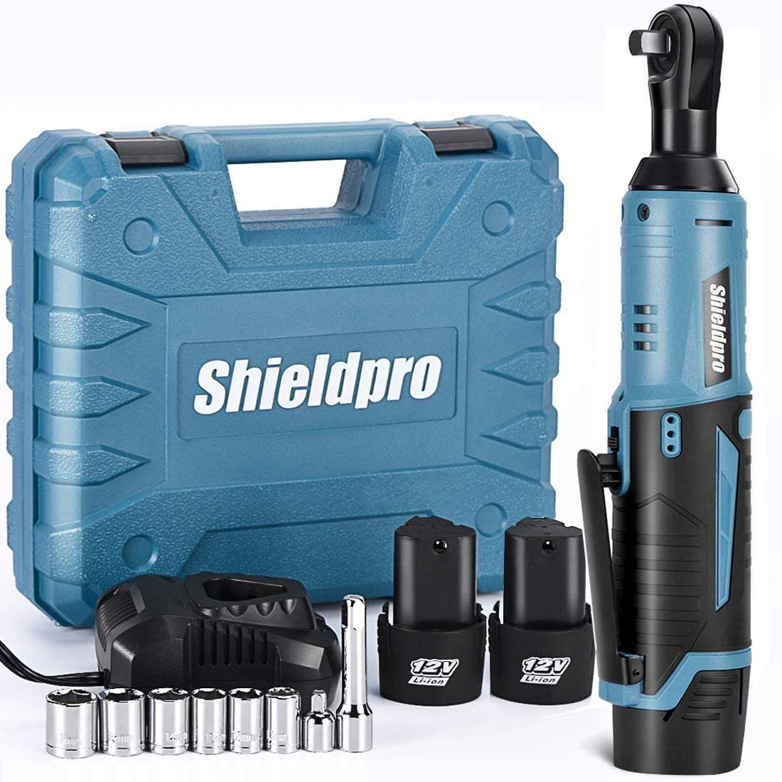 "Shieldpro Cordless Electric Ratchet Wrench Kit,40Ft-lb 3/8""Power Ratchet Wrench 1-Hour Fast Charge,2 Packs 2000MA Lithium-Lon Battery,1/4 Adaptor,Extension Bar"