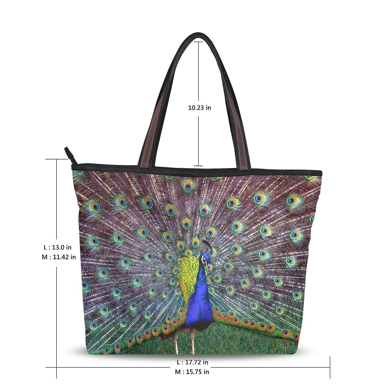 Use4 Womens Fashion Handbag Design Shoulder Bag Peacock National Bird Of India Tote Bags