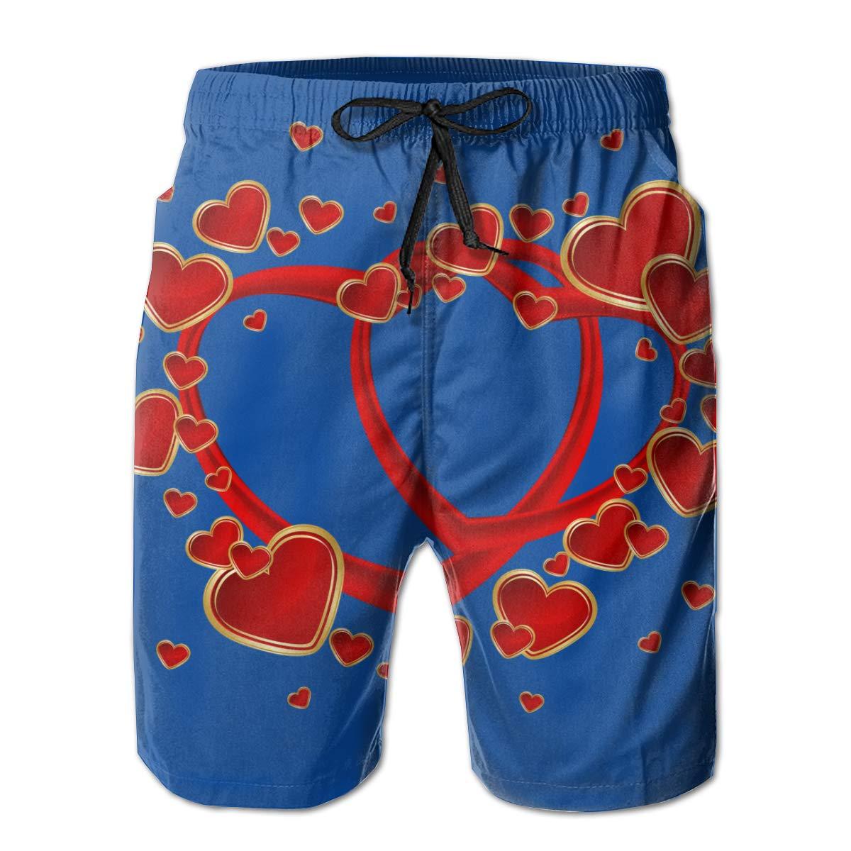 Mens Hawaiian Beach Shorts Printed Swim Pants Quick Dry Swimwear with Pockets /& Mesh Lining