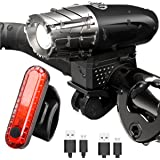 Bike Light Set USB Rechargable Cycle Light White Headlight and Red Rear Light front Light Tail Light High Power Headlamp And Rear Light 2 USB cables and 2 PCS Clamp