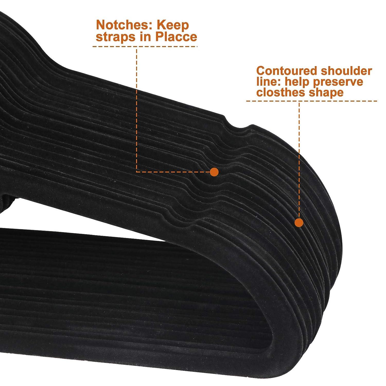 for Pants Hangers Skirt with Swivel Hook Black Oteymart 100 Pack Velvet Non-Slip Hangers Clothes Organizers Storage Holder