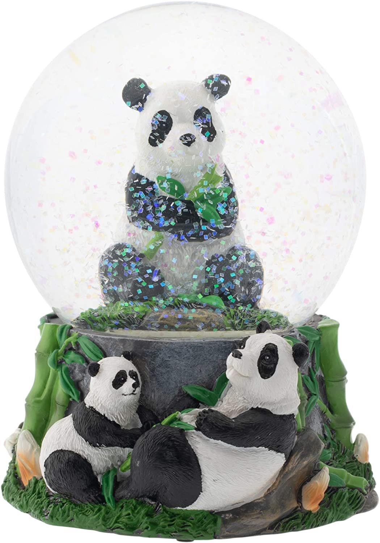 Elanze Designs Hugging Panda Bear Family 100MM Musical Water Globe Plays Tune Born Free