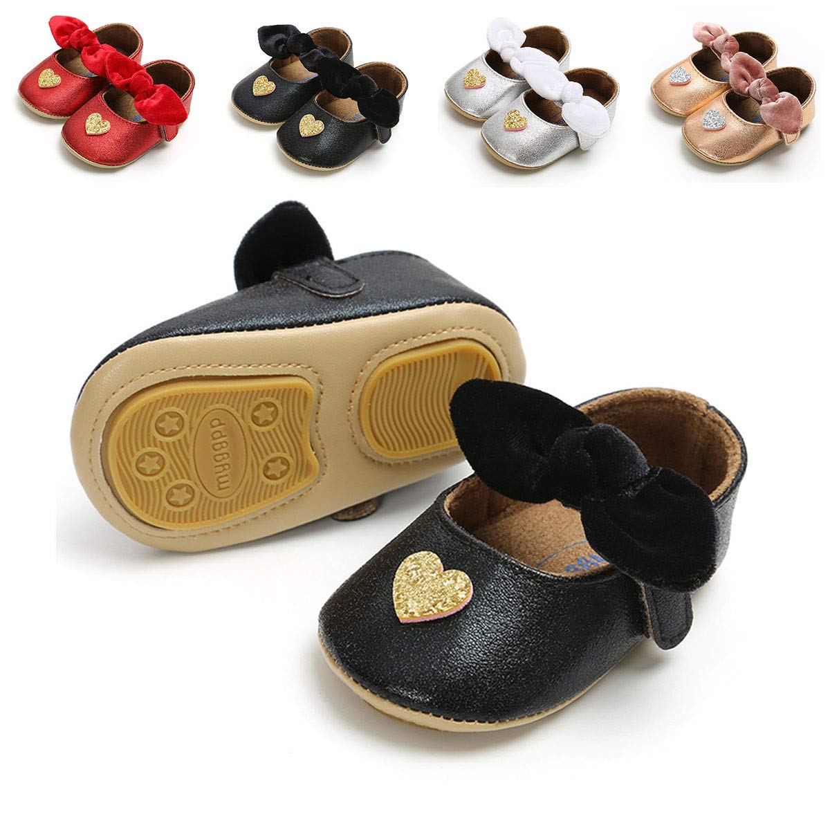 e0dcac201f04 Amazon.com | Timatego Infant Baby Girls Dress Shoes Mary Jane Flats with  Bowknot Non-Slip Toddler First Walkers Newborn Princess Shoes | Mary Jane