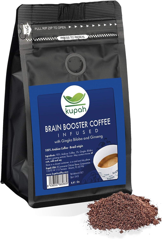 Cafe molido natural extra fuerte | Kupah Brain Booster | Cafe molido espresso 250 g | Potencia la concentración | Incrementa el rendimiento | Gingko Biloba y Ginseng | Tostado artesanal