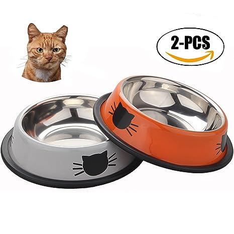Cuencos para Gatos, Sportgirls 2 Piezas Antideslizante Cuencos Gato Antideslizantes Gatos Cuencos Agua Comida Alimentación