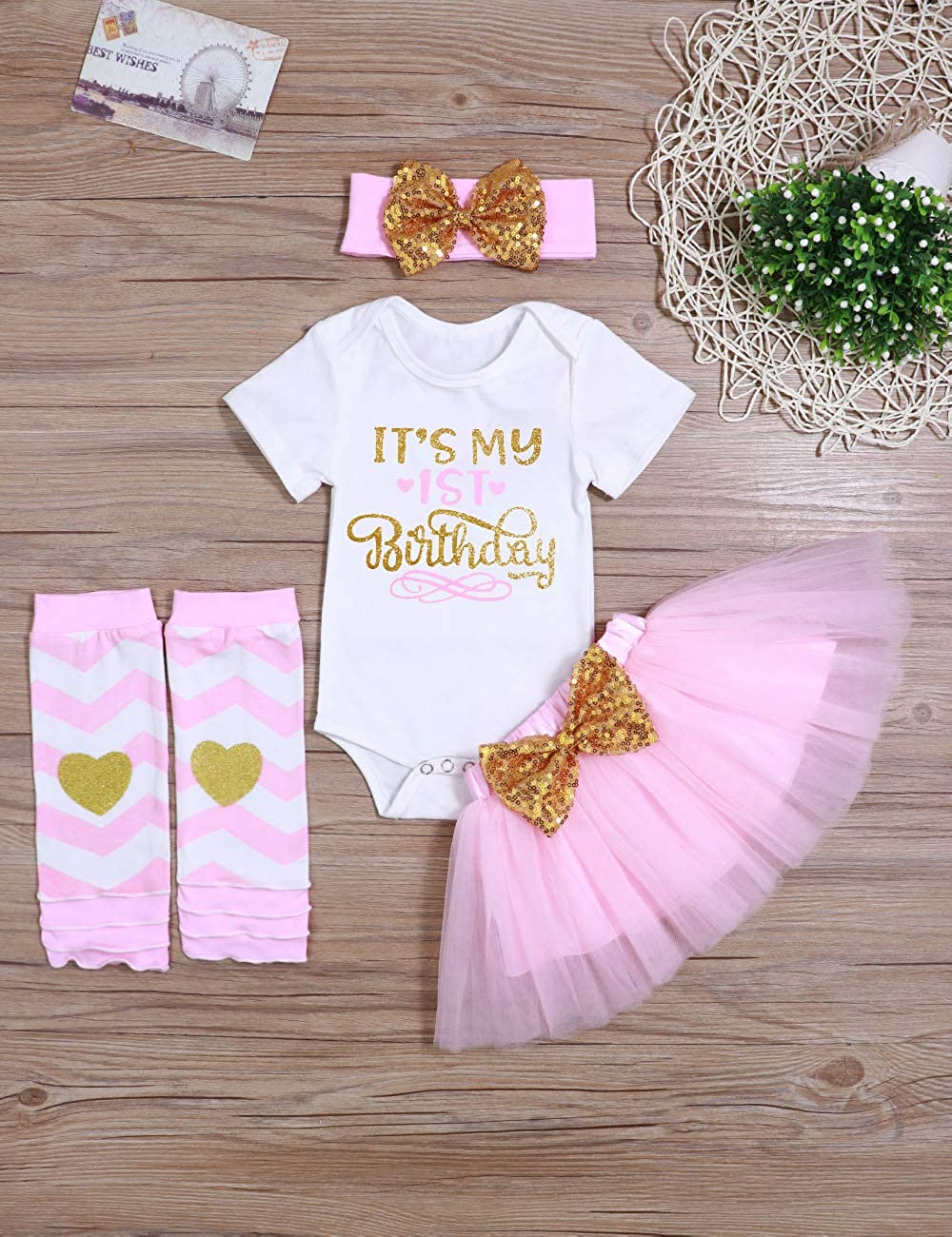 Newborn Baby Girl/'s It/'s My 1st Birthday Infant Outfits Romper Shiny Printed Sequin Bowknot Tutu Skirt Dress Purple