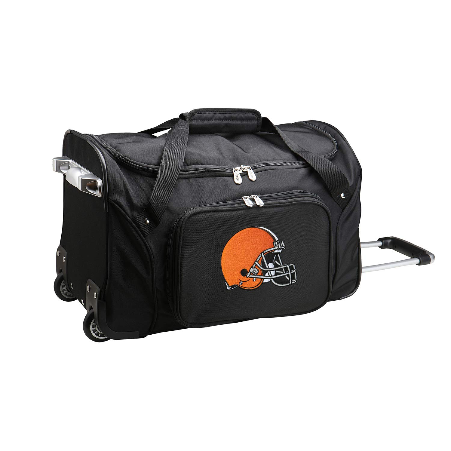 NFL Cleveland Browns Wheeled Duffle Bag, 22 x 12 x 5.5, Black by Denco