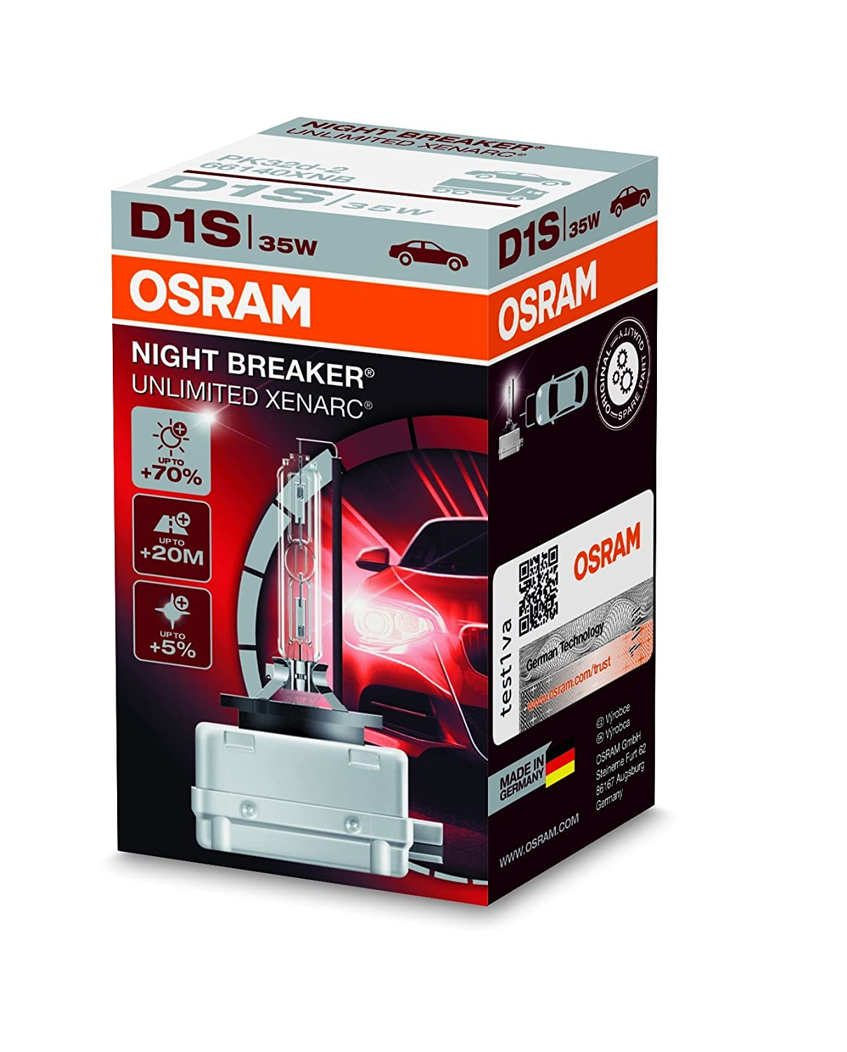 OSRAM XENARC ORIGINAL D1S HID Xenon discharge bulb, discharge lamp, OEM quality OEM, 66140, folding carton box (1 unit)