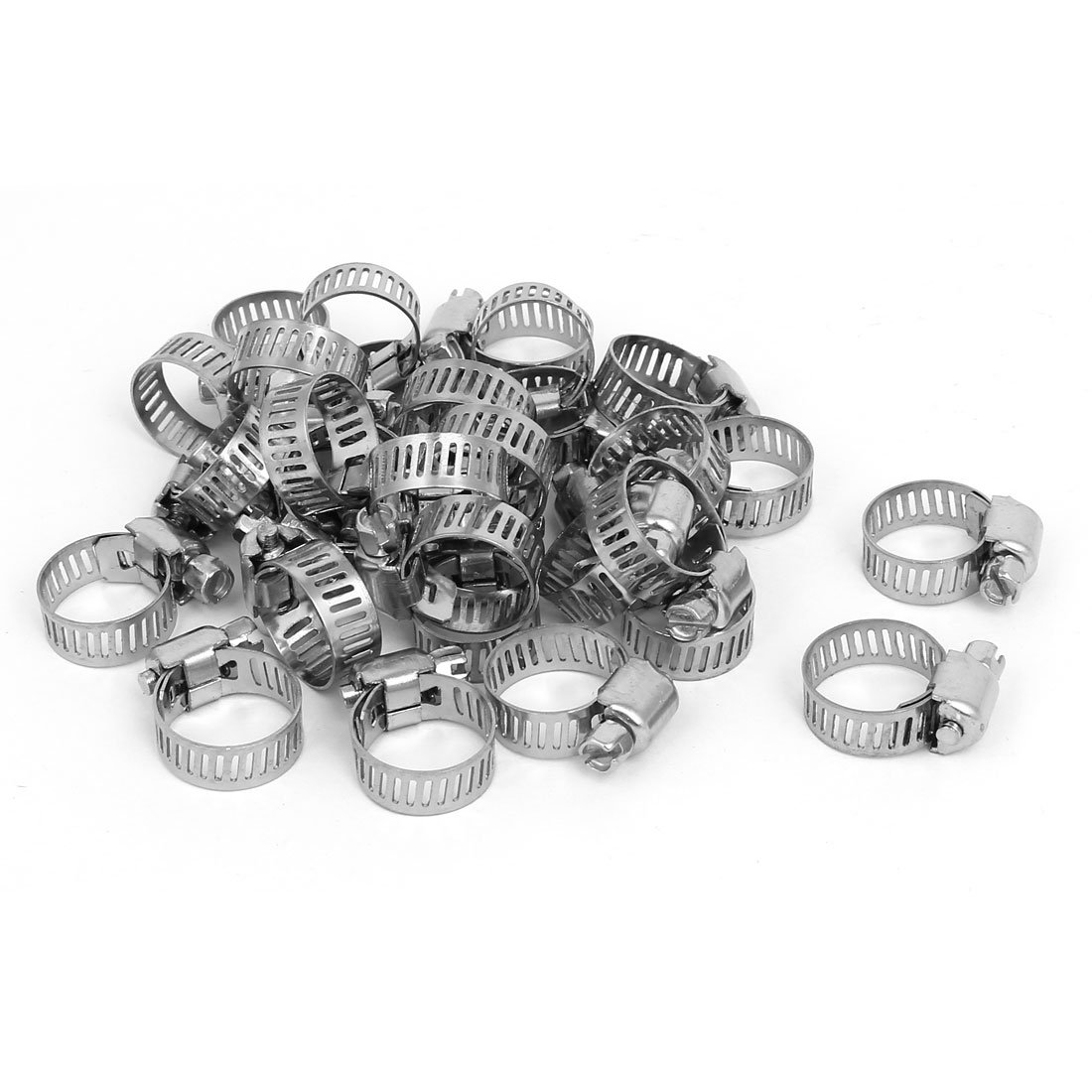 uxcell 13-19mm Stainless Steel Adjustable Cable Tight Worm Gear Hose Clamps 30pcs