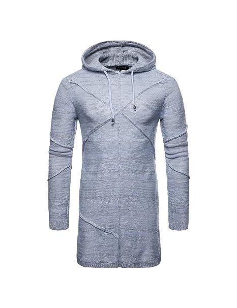 Zhhlaixing Elegante Largo Pull-Over Suéter para Hombres - Color Sólido Derecho Sudaderas con Capucha Jersey de Chaqueta: Amazon.es: Ropa y accesorios