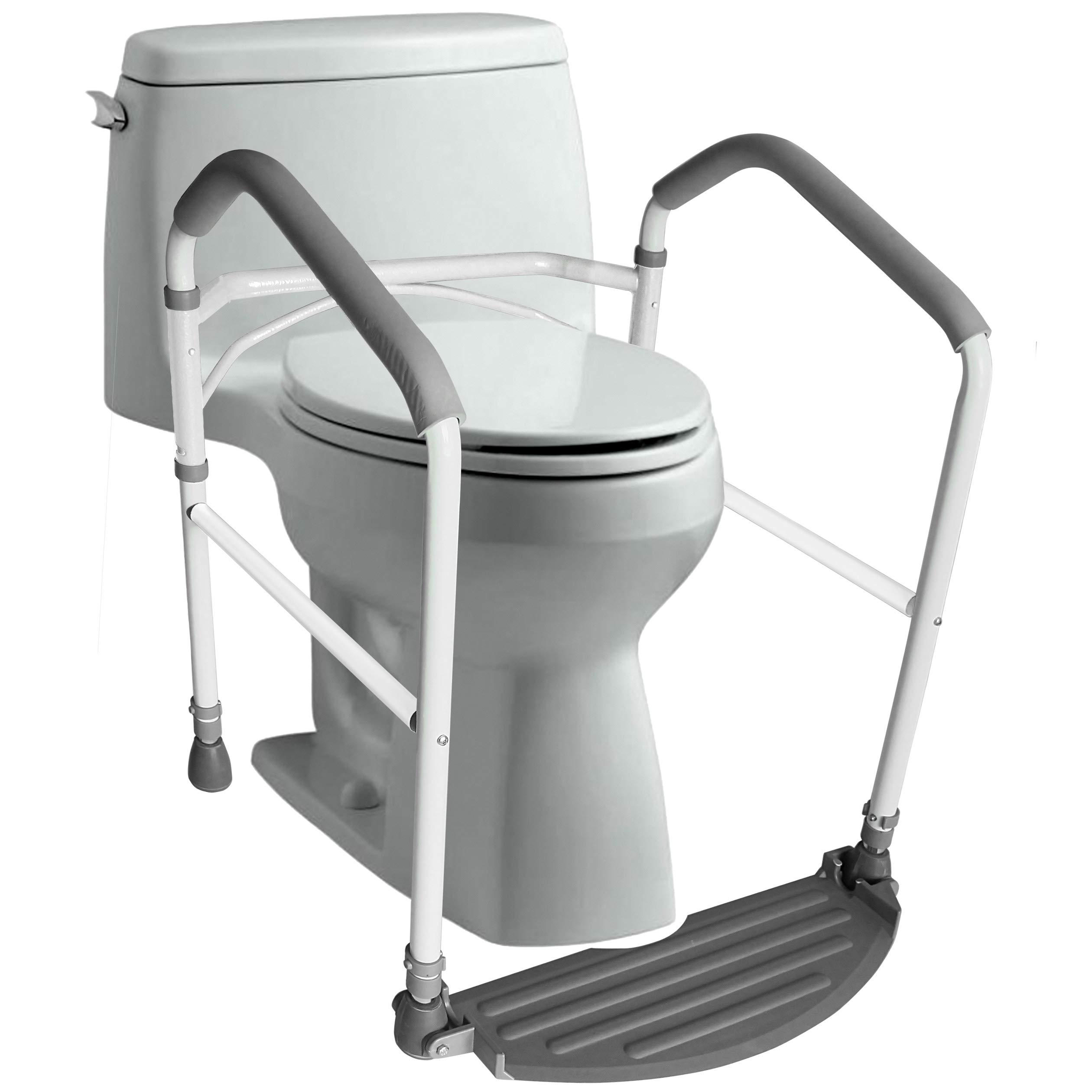 RMS Toilet Safety Frame & Rail - Folding & Portable Bathroom Safety Handrail Grab Bar with Adjustable Height (White) by RMS Royal Medical Solutions, Inc.