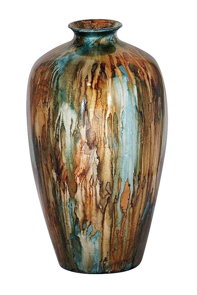 Heather Ann Creations Ruth Ceramic Decorative Water Jar Floor Vase, Bronze/Blue/Gold