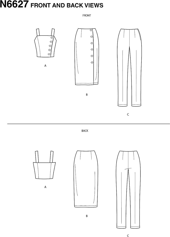 Patrones de costura para camiseta papel New Look N6627 color blanco falda y pantalones