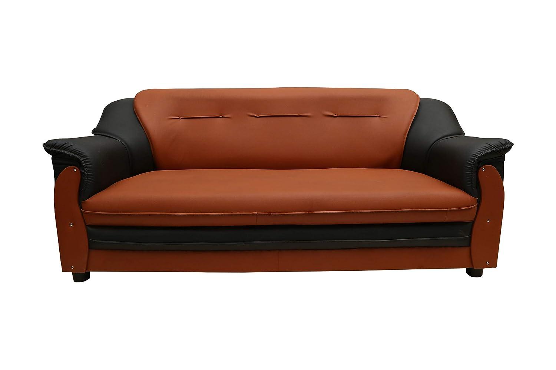 Sekar Lifestyle 3 Seater Sofa Set For Living Room Colour Black Orange