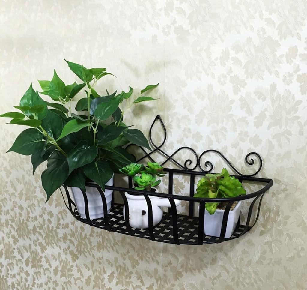 FZN paniers de fleurs en fer forgé suspendus fleur mur décoratif panier suspendu pots de fleurs siège balcon Pots de fleurs (Couleur : Noir, taille : 45*15*24cm)