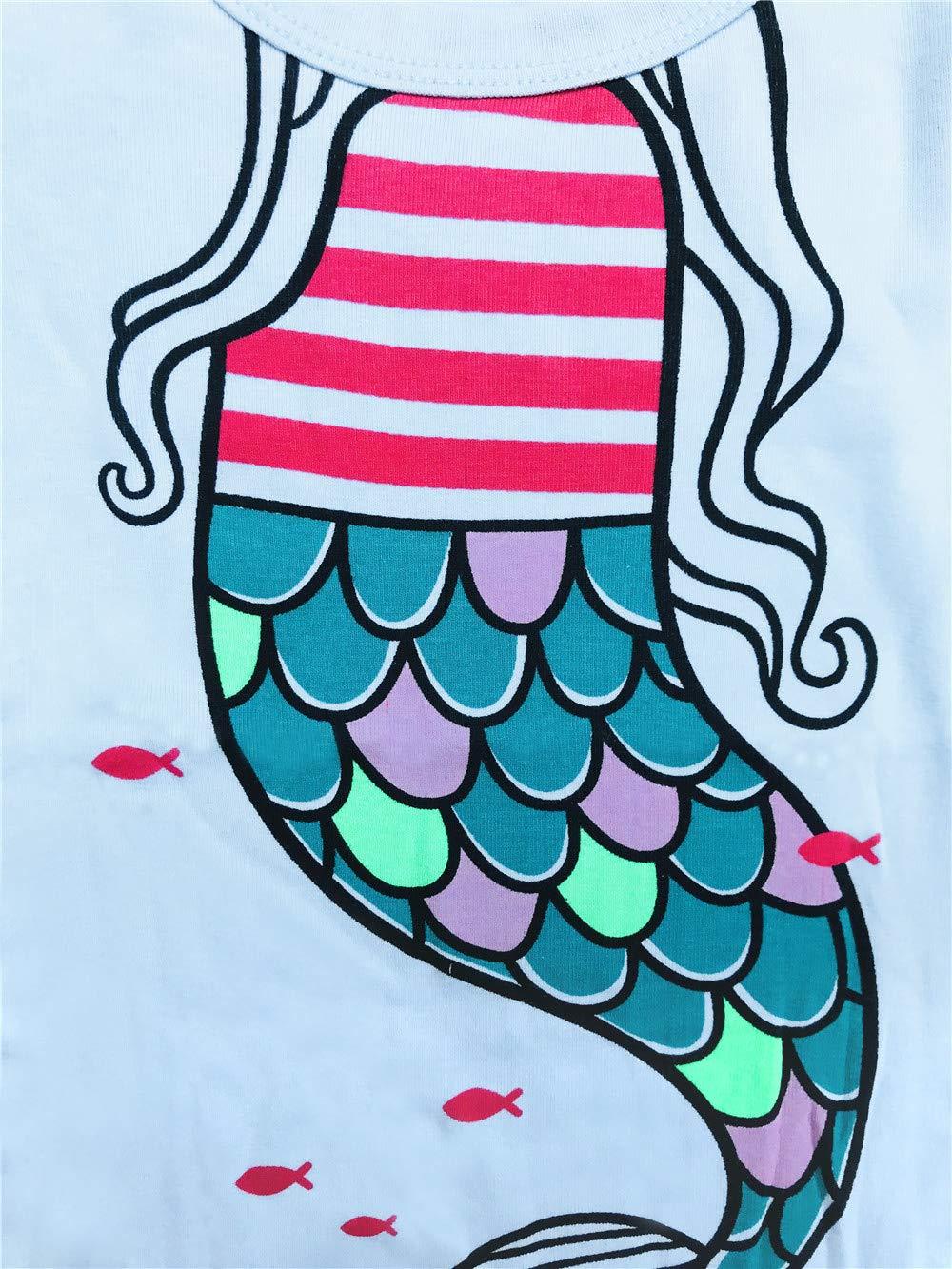 LitBud Toddler Girls Mermaids Pajama Sleepwears 2pcs Long Sleeves Pjs Tops + Pants Sets for Kids Size 3-4 Years 4T