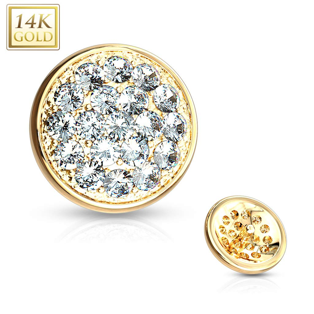 Covet Jewelry CZ Paved Flat Dome Dermal Anchor Top (Yellow Gold/Clear)