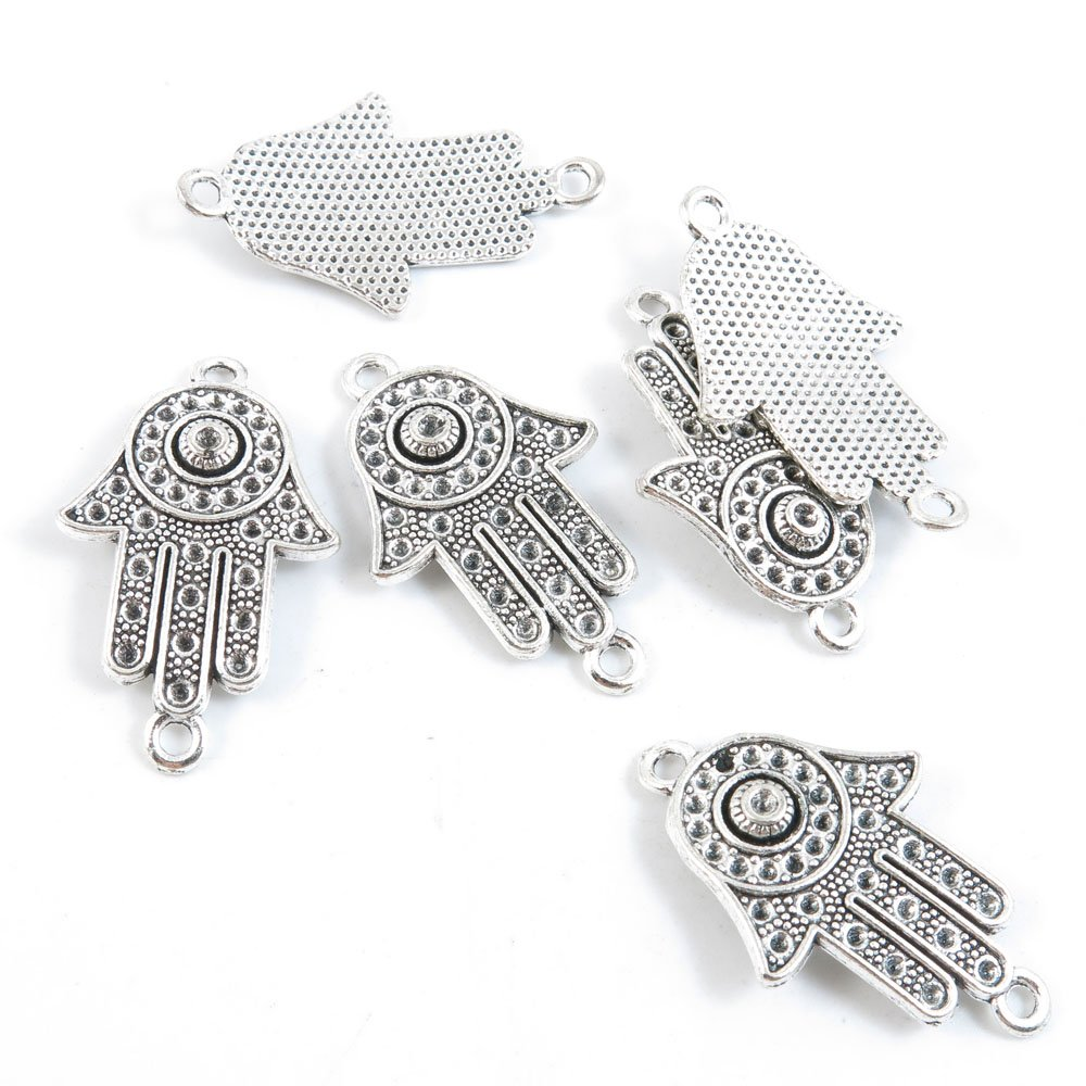40 Pieces Silver Tone Jewelry Making Charms Supply ZY3648 Hamsa Hand of Fatima Connector