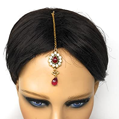 Headpiece Hair Indian Costume Jewellery Matha Patti Scarf Hijab Gold Red Sales Of Quality Assurance Hair & Head Jewelry