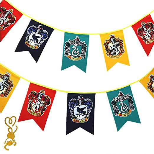 FengHuiCartoon [12pcs 3M Cartel de Pared de Gift for Harry Banner Potter, Gryffindor | Slytherin | Hufflepuff | Ravenclaw Banderas para la decoración ...