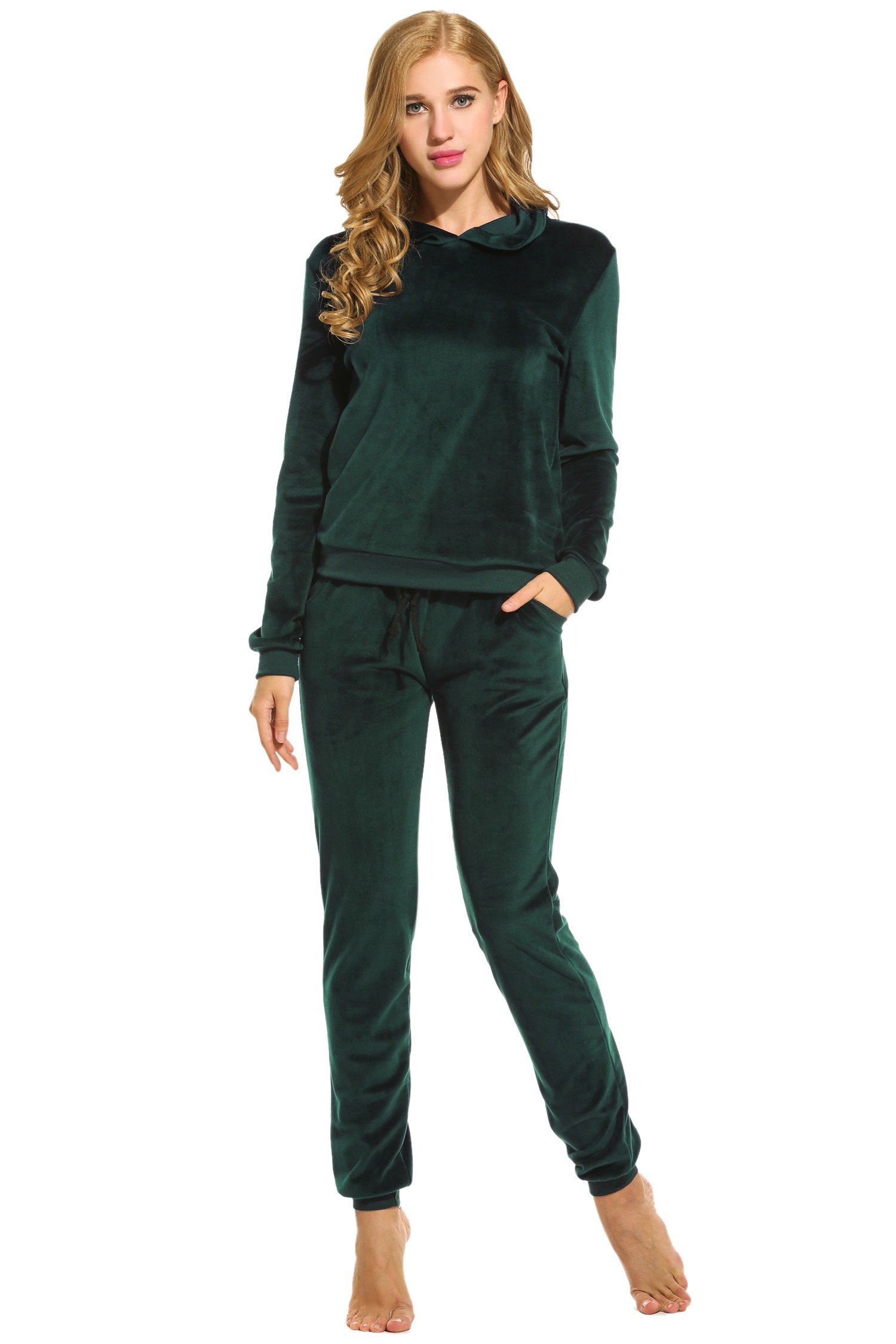 Hotouch Women's Hoodie and Sweatpants Velour Suits Tracksuits Green M