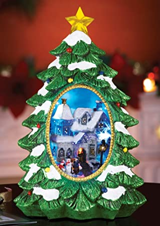 lighted christmas village tree tabletop decoration