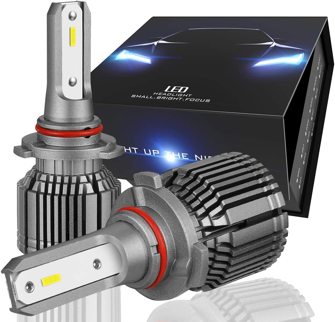 Nuvision Pair 9005 HB3 Bulbs 20000 Lumens 60W LED Headlight High/Low Beam Fog Lamp Light Conversion HID Kit with Fan