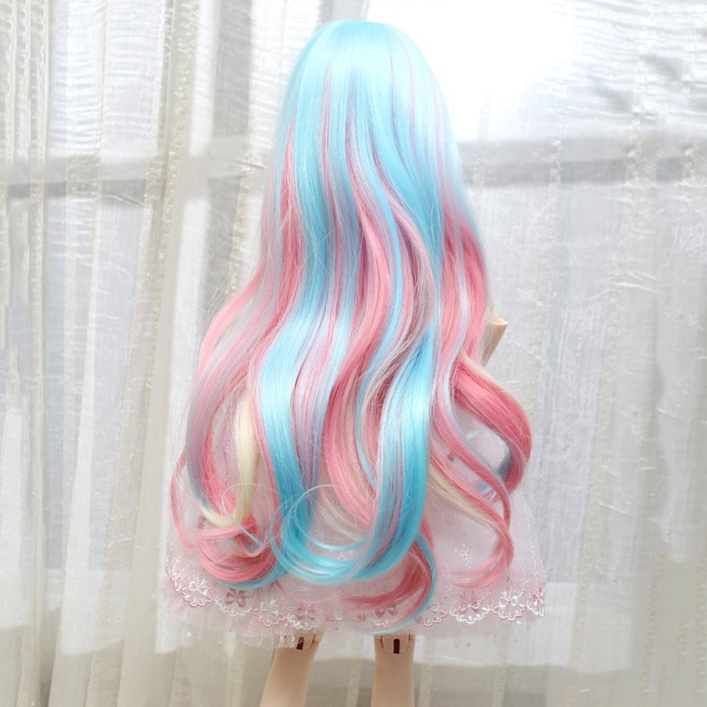 MagiDeal Fashion Doll Wig Hairpiece Long Curly Hair with Bang for 1//3 BJD SD Dollfie Doll DIY Making and Repair Accessories Multicolored Gradient