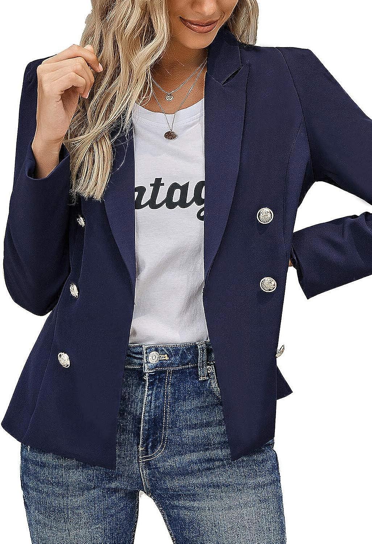Utyful Women's Open Front Long Sleeve Buttons Work Office Blazer Casual Business Jacket Suit