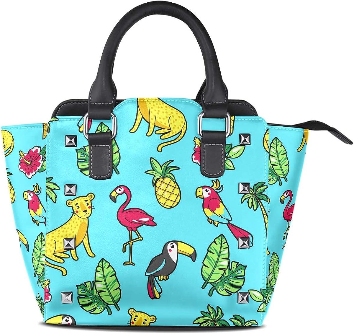 Womens Top Handle Satchel Handbag Flamingo Toucan Parrot Ladies PU Leather Shoulder Bag Crossbody Bag